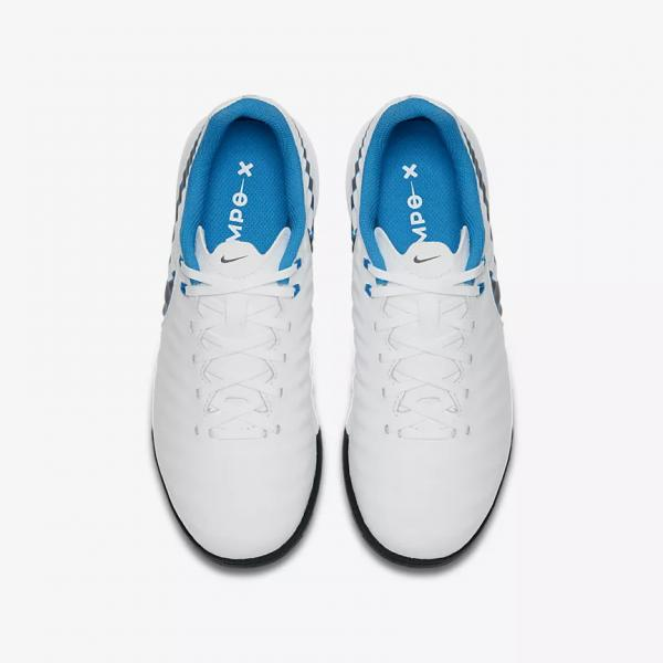Nike Futsal Shoes Legendx 7 Academy Tf  Junior WHITE/MTLC COOL GREY-BLUE HERO Tifoshop