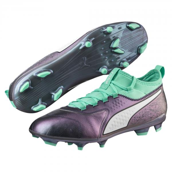 Puma Fußball-schuhe One 3 Illuminate Leather Fg COLOR SHIFT-BISCAY GREEN-PUMA WHITE-PUMA BLAC Tifoshop