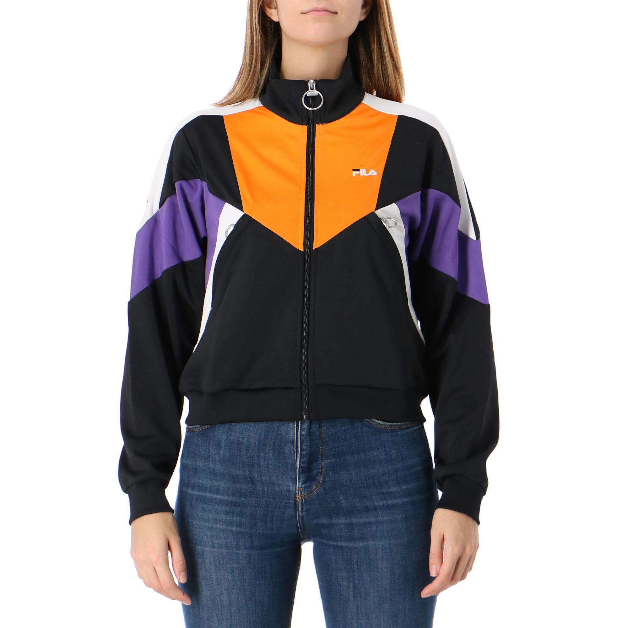 Fila Becca Cropped Track Jacket Black ultra violet orange pops